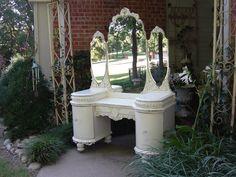 1920's VANITY DRESSER Shabby Ornate Chic French White Triple Mirror. $2,499.00, via Etsy.