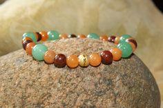 Serenity Gemstone Bracelet with Jade Red by ILoveSparklesJewelry
