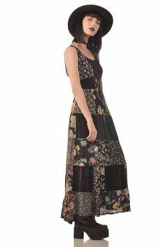 Tanya 90s Indian Rayon   Velvet Floral Patchwork Maxi Dress