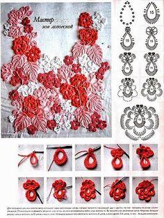 Ideas Knitting Charts Flower Irish Lace For 2019 Irish Crochet Tutorial, Crochet Diagram, Freeform Crochet, Crochet Motif, Crochet Lace, Crochet Doilies, Crochet Flower Patterns, Crochet Designs, Crochet Flowers