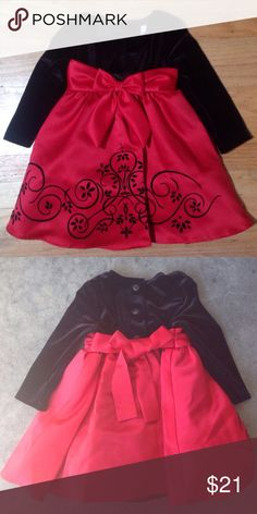 Rare Editions Red and Black Dress - 18 Months Red sateen skirt with black swirl patter in velveteen, long sleeves, black velveteen top, buttons at the back, red sash, cinoline petticoat, lined skirt. Dress 90% Polyester 10% Spandex. Skirt/lining 100% Polyester. Crinoline 100% Nylon Rare Editions Dresses Formal