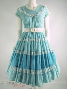 40s/50s Turquoise Full Circle Patio Dress  AS IS  by BeeDeeVintage, $18.00  https://www.etsy.com/listing/154849680/40s50s-turquoise-full-circle-patio-dress