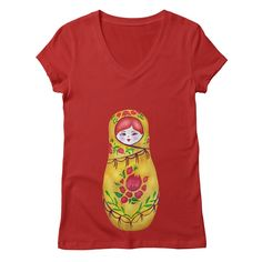 """V neck T-shirt GET """"Matryoshka"""" by tanjica with 50% Off Code: CC7B755AA3DA80C673F7 matryoshka nesting russian doll,Russia,hand drawn,hand painted,aquarelle,watercolor,original artwork,babushka,eastern europe,red hair,ginger hair,motherhood,family,fertility,pregnancy,matriarch,mother earth,life,vitality,reproduction,vibrant,red and green,joy,happiness,childhood,childrens room,flowers,petals,leaves"""
