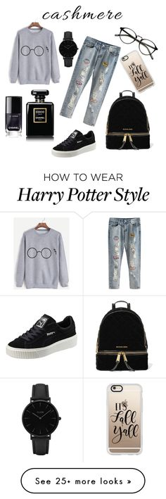 """Inspired by Harry Potter ❤⚡"" by nourmostafa on Polyvore featuring Puma, MICHAEL Michael Kors, Casetify, Chanel and CLUSE"