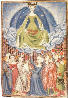 Love those split sleeves! The goddess Venus. c.1415 by medievalarchive, via Flickr