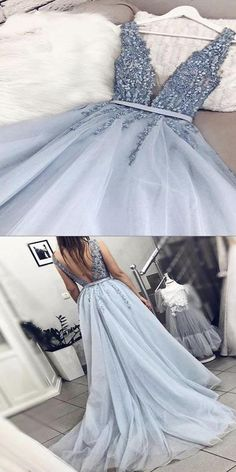 V Neck Backless Light Blue Appliques Long Prom Dresses, Elegant Evening Dresses . - V Neck Backless Light Blue Appliques Long Prom Dresses, Elegant Evening Dresses – Source by – Dresses Elegant, Pretty Dresses, Sexy Dresses, Formal Dresses, Summer Dresses, Wedding Dresses, Backless Dresses, Casual Dresses, Short Dresses