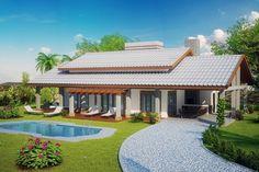 Casa de campo moderna Modern House Plans, House Floor Plans, A Frame House Plans, Style At Home, Roof Design, House Design, House Goals, My Dream Home, My House