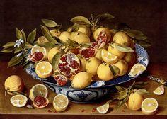 Gerrit van Honthorst. A still life of a Wanli Kraak porcelain bowl of citrus fruit and pomegranates on a wooden table.