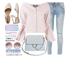 """""""Pastels"""" by monmondefou ❤ liked on Polyvore featuring GUESS, Chloé, Current/Elliott, Jacquemus, Gap, RMK, Elemis, Thierry Mugler, Christian Dior and Pink"""