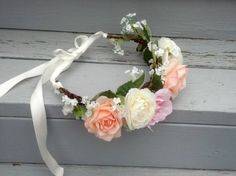 Large Rose Hair Wreath -Everlasting Love- Headband artificial Lana Del Rey flower crown bridal Headwreath festival Wedding Accessories