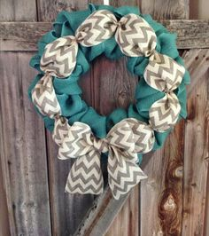 Turquoise Chevron Burlap Wreath by AstoriaDesignCo on Etsy Burlap Crafts, Wreath Crafts, Diy Wreath, Mesh Wreaths, Wreath Ideas, Crafts To Do, Arts And Crafts, Diy Crafts, Creative Crafts