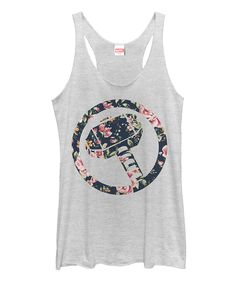 White Heather Floral Thor Racerback Tank - Juniors
