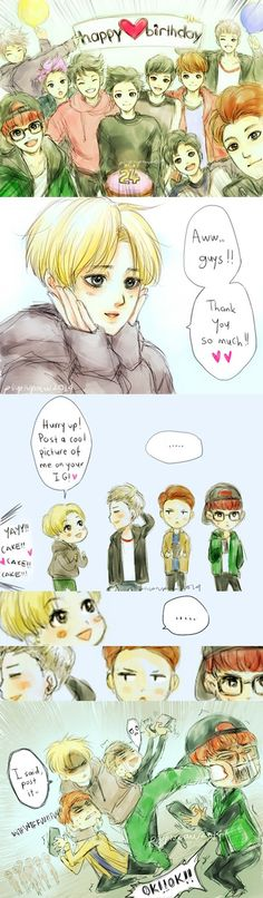 EXO Fanart - Suho's birthday and how those pictures were uploaded on their Instagram