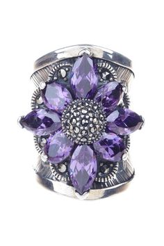 Amethyst Flower & Marcasite Ring. Lovely!