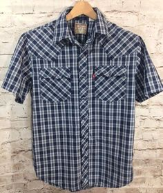 LEVI STRAUSS Western Cowboy Pearl Snap Shirt Sz Small Navy Blue Plaid Check S/S #Levis #Western