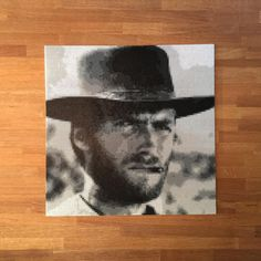 Clint Eastwood as blondie in the movie The good the bad and the ugly. Made with perler beads.
