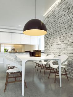 white brick wall finish are a timeless and versatile design element in interior design. Leave it raw, with some holes and blemishes for character, or opt for a cleaner and polished look White Dining Room Sets, White Dining Table, Dining Table Design, Modern Dining Table, Dining Room Table, Modern Chairs, Dining Rooms, Dining Chairs, Brick Wall Paneling