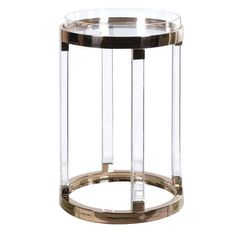 Large Round Acrylic / Gold Metal Tray Side Table
