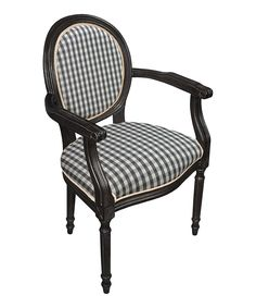Black Gingham Upholstered Armchair
