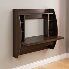 Optimize your space with this Wall Mount Space Saving Modern Laptop Computer Desk in Espresso innova Computer Desk Organization, Home Office Computer Desk, Office Den, Laptop Desk, Office Table, Computer Desks, Office Workspace, Tv Unit Furniture, Living Room Furniture