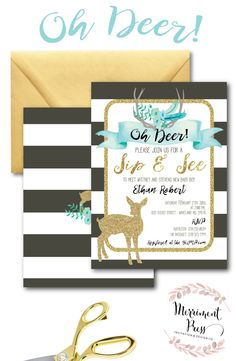 Oh Deer Baby Shower Invitation // It's a Boy // Fawn Invitation // Boy // Blue… Hunting Baby Showers, Deer Baby Showers, Baby Boy Shower, Sip And See Invitations, Baby Sprinkle Invitations, Baby Shower Invitations, Oh Deer, Baby Deer, Baby Boy Sip And See