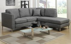 Modus Grey Linen Fabric Sectional Couch