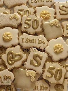 """I still do"" cookie- silver instead of gold, or any color theme for that matter 50th Anniversary Cookies, 50th Wedding Anniversary Decorations, Golden Anniversary, Anniversary Ideas, Fancy Cookies, Valentine Cookies, Sugar Cookies, Set Cookie, Cookie Ideas"