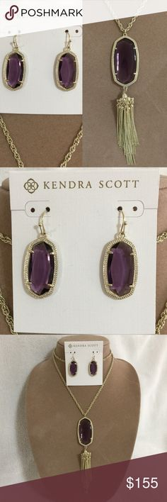 """Kendra Scott Amethyst Rayne and Dani NEW WITHOUT TAGS Kendra Scott Amethyst Rayne Necklace and Dani Earrings.  Comes with gift box, jewelry bag and care card  Earrings: 1""""L x 0.56""""  Necklace: 5.5""""L x 1.13""""W pendant, 30"""" chain with extender  ❤️ LIKE ME ON FACEBOOK @MarianTNoonan Kendra Scott Jewelry Necklaces"""