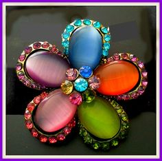 Multicolor Ponytail Holder with Beautifully Crafted Flower Desing Decorated with Crystals. - Crystal Dreams