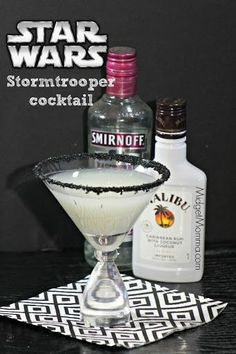 Raspberry Coconut Storm Trooper Cocktail With Raspberry Flavored Vodka, Malibu Caribbean Rum, Pina Colada Mix, Sprite, Sanding Sugar, Simple Syrup, Ice, Martini