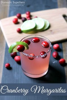 Easy Cranberry Margaritas are so fun and seasonal! I love these for a signature cocktail for holiday parties!