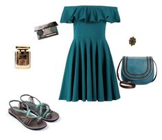 """""""Teal Beauty"""" by plaka-sandals ❤ liked on Polyvore featuring Boohoo, Tignanello, Gucci and By Terry"""