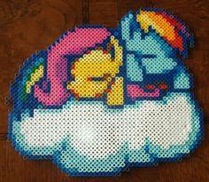 Fluttershy and Rainbow Dash Perler Beads by megatonabomb on deviantART