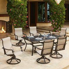 Camden Sling Swivel Rocker Dining Chairs 4 Piece