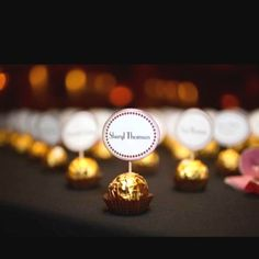 Ferraro rocher name tags. A little gold for everyone.