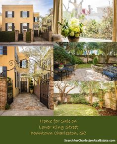 Search homes for sale in South of Broad! Learn the history of South of Broad, view pictures, and read about entertainment in this historic Downtown Charleston Southern Homes, Real Estate Houses, Historic Homes, Charleston, The Neighbourhood, This Is Us, Patio, King, Mansions