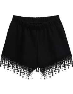Black Elastic Waist Lace Tassel Shorts - Sheinside.com