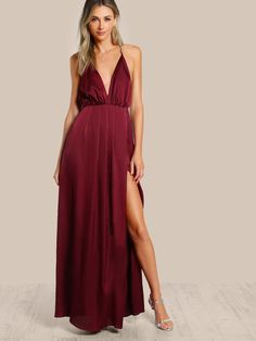 bbbb52694e SHEIN offers Plunge Neck Crisscross Back High Slit Wrap Cami Dress & more  to fit your fashionable needs.
