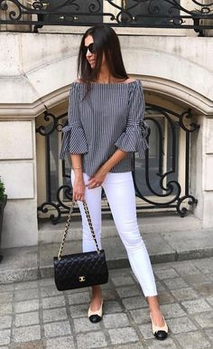 Best 12 Neb_Chic_Fashions – Off shoulder striped top w/ wrist tie – SkillOfKing. Stylish Work Outfits, Casual Outfits, Cute Outfits, Blouse Styles, Blouse Designs, Casual Chic, Casual Wear, Pinterest Fashion, Mode Style