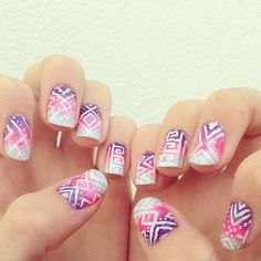 Summer Gradient Nails With White Nail Art Pen Tribal Design