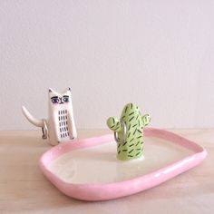 Ceramic Jewelry Tray with Cactus Ring Holder by YellowTreeStore