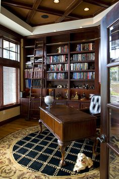 Proper Custom Home Libraries to Complete Your Tastes: Pretty Traditional Home Office Interior Used Custom Home Libraries Design Used Wooden . Home Design, Home Library Design, Home Office Design, Interior Design, Design Ideas, Interior Doors, Office Designs, French Interior, Library Ideas