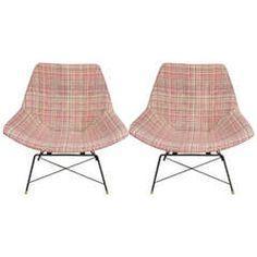 Pair of Saporiti Chairs by A. Bozzi in Original Fendi Textile, Italy circa 1960s