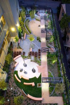 Havenhurst Pocket Park in West Hollywood, CA by KSA... Not that pretty but gives an ideas of how to zone a small space.