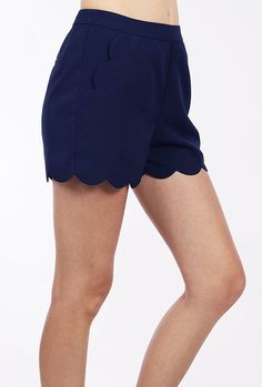 Scallops https://sincerelysweetboutique.com/shop-collections/sweet-scallops.html - #scallop #sweet-scallops #scallops - Navy Blue Scallop Hem High Waist Shorts