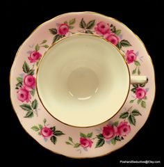 Stunning English rose pattern cup and saucer duo by Colclough bone china (pattern 8239) in baby pink - exquisite edition to your English bone china collection.