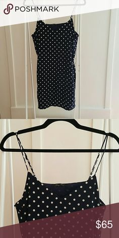 Cute silk dress! Silk with sheer slip detail. Creme polka-dots make this great for summer or paired with tights in the fall! Never worn. Honey Punch Dresses Mini