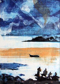 "Artwork ""Stille"" by Gro Mukta Holter Banks, Paintings, River, Artwork, Kunst, Work Of Art, Painting Art, Painting, Paint"
