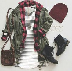 Grunge outfit idea Red plaid shirt striped dress T green canvass jacket red beanie black laced boots brown leather bag and matching accessories - Grunge Outfits, Indie Outfits, Casual Outfits, Cute Outfits, Green Outfits, Rock Outfits, Layering Outfits, Modern Outfits, Dress Casual