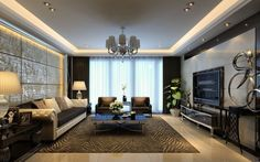 Interior, Classy Living Room Design Ideas With Stunning Sofas And Gorgeous Black Large Square Table Plus Antique Dark Brown Wood Square Accent Tables On Combined Nice Beige Drum Table Lamps Also Splendid Tv Wall Units: Executive Interior Living Room Design Ideas